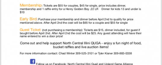 North Central Illini QUGA Banquet April 7th, 1st annual